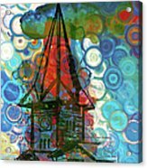 Crazy Red House In The Clouds Whimsy Acrylic Print