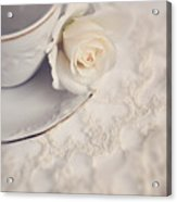 Cream Rose On White China Cup Acrylic Print