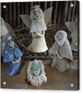 Creche Mary Joseph And Baby Jesus Acrylic Print by Nancy Griswold