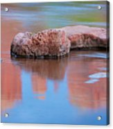 Creek Rocks With Cathedral Rock Reflection Acrylic Print