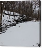 Creeks Battles The Snow And Cold To Remain Flowing. Acrylic Print