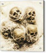 Creepy Skulls Covered In Spiderwebs Acrylic Print