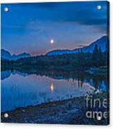 Crescent Moon Over Middle Lake In Bow Acrylic Print