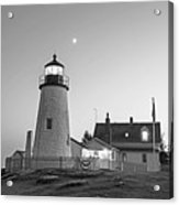Crescent Moon Over The Pemaquid Point Lighthouse Pemaquid Me Black And White Acrylic Print