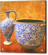 Crete Blue And Gold Jug And Bowl Acrylic Print