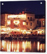 Crete. Rethymnon Harbor At Night Acrylic Print