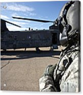 Crew Chief Of A Ch-47 Chinook Stands Acrylic Print