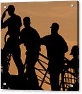 Crewmen Salute The American Flag Acrylic Print by Stocktrek Images