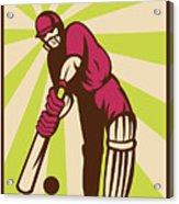 Cricket Sports Batsman Batting Retro Acrylic Print