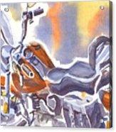 Crimson Motorcycle In Watercolor Acrylic Print