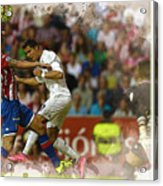 Cristiano Ronaldo Heads The Ball During The Spanish League Footb Acrylic Print