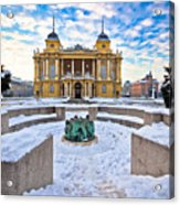 Croatian National Theater In Zagreb Winter View Acrylic Print