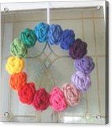 Crochet Rainbow Wreath Acrylic Print