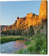 Crooked River And Monkey Face At Smith Rock Acrylic Print