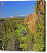 Crooked River And Mt Hood Oregon Acrylic Print