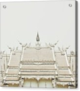 Crop Of A Exquisite And Magnificent Roof Of White Temple Aka Wat Rong Khun In Thailand Acrylic Print