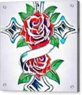 Cross And Roses Tattoo Acrylic Print