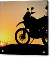 Cross-country Motorbike And Stony, Traveling In Tough Roads Acrylic Print