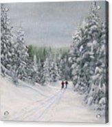 Cross Country Skiers Acrylic Print