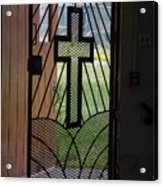 Cross On Church Door Open To Prison Yard Fence With Razor Wire Acrylic Print