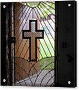 Cross On Church Door Open To Prison Yard Acrylic Print