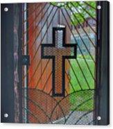 Cross On Church Door Open To Prison Yard With Light Acrylic Print