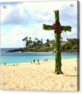 Cross In The Sand Acrylic Print