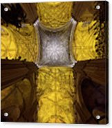 Cross Shaped Nave Ceiling With Pillars And Stained Glass Windows Acrylic Print