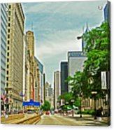 Crossing Chicago's South Michigan Avenue Acrylic Print