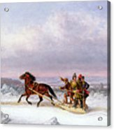 Crossing The Saint Lawrence From Levis To Quebec On A Sleigh Acrylic Print by Cornelius Krieghoff