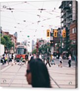 Crossing The Street Acrylic Print