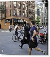 Crossing The Street In Dumbo Acrylic Print