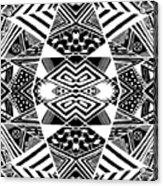 Crossroads To Ornamental - Abstract Black And White Graphic Drawing Acrylic Print