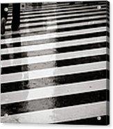 Crosswalk In Rain Acrylic Print by photo by Jason Weddington