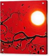 Crow In Crimson Sunset Acrylic Print