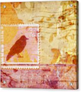 Crow In Orange And Pink Acrylic Print