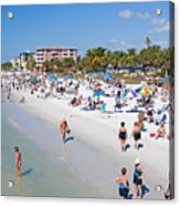 Crowd On A Summer Beach In Ft Meyers Florida Acrylic Print by ELITE IMAGE photography By Chad McDermott