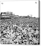 Crowds At Coney Island Beach Acrylic Print