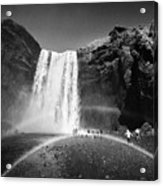 Crowds Of Tourists With Double Rainbow At Skogafoss Waterfall In Iceland Acrylic Print
