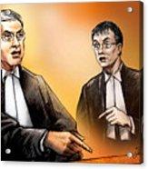 Crown Michael Carnegie Versus Defence Lawyer Dirk Derstine At The Rafferty Trial Acrylic Print by Alex Tavshunsky