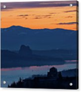 Crown Point And Beacon Rock At Dawn Acrylic Print