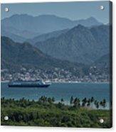 Cruise Ship Leaving Banderas Bay Puerto Vallarta Mexico With Sie Acrylic Print