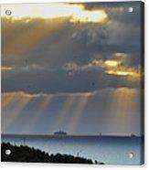 Cruise Ship Passing An Island As Sunrays Shine Through Clouds Acrylic Print