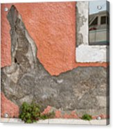 Crumbled Plaster Of An Orange Wall, Reflection Of A Boat In The Window Acrylic Print