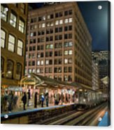Cta Pulls Into The State-lake Street Station Chicago Illinois Acrylic Print