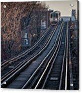 Cta Train Approaching Damen Avenue Station Chicago Illinois Acrylic Print