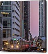 Cta Train On The L At Dusk Chicago Illinois Acrylic Print