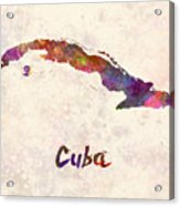 Cuba In Watercolor Acrylic Print