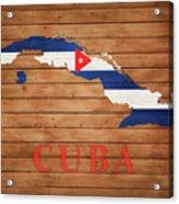 Cuba Rustic Map On Wood Acrylic Print