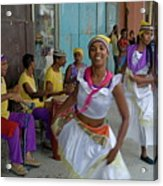 Cuban Band Los 4 Vientos And Dancers Entertaining People In The Street In Havana Acrylic Print by Sami Sarkis